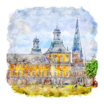 Bonn germany aquarela esboço mão ilustrações desenhadas