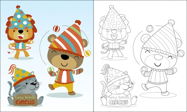 Bons desenhos animados animais brincando de circo