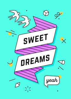 Bons sonhos. banner de fita vintage