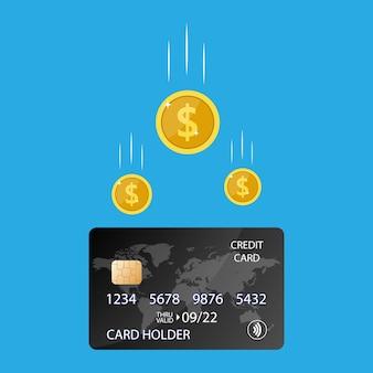 Bônus em dinheiro de volta ou receita de recompensa no cartão de débito do banco de crédito