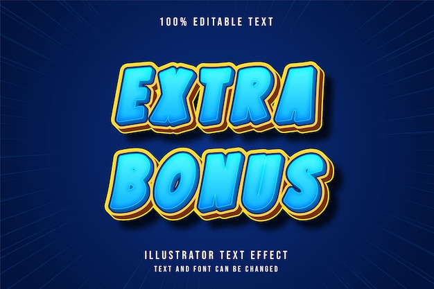 Bônus extra, estilo de jogo de efeito de texto editável em 3d gradação azul amarelo laranja