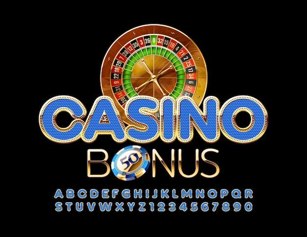 Bônus premium do emblem casino. letras e números do alfabeto chique em azul e dourado. fonte moderna elegante