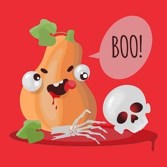 Boo halloween pumpkin animal funny flat design cartoon ilustração desenhada à mão