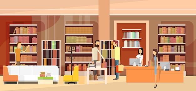 Book shop interior bookstore clientes vendas mulher cash desk