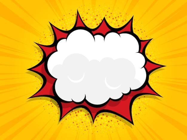 Boom em branco discurso bolha quadrinhos, pop art com meio-tom