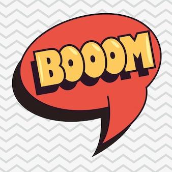 Boom em quadrinhos discurso bolha pop art fundo