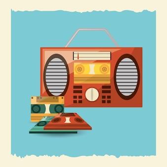 Boombox estéreo e ícone de cassetes sobre fundo azul