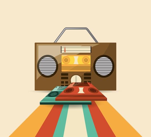 Boombox estéreo e ícone de cassetes sobre fundo colorido