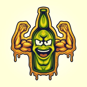Bootle beer strong cartoon character ilustrações vetoriais para o seu trabalho logotipo, t-shirt da mercadoria do mascote, adesivos e designs de etiquetas, cartazes, cartões comemorativos anunciando empresas ou marcas.
