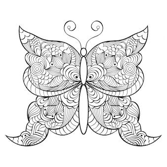 Borboleta abstrata do doodle