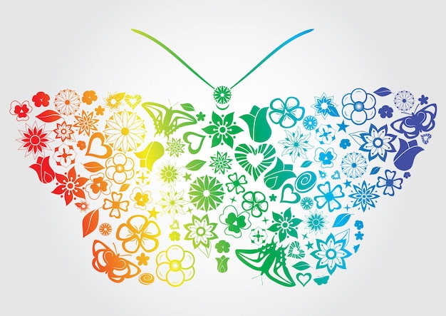 Borboleta arco-íris com flores, folhas, borboletas e outros objetos