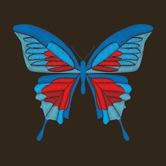 Borboleta azul e vermelha decorativa