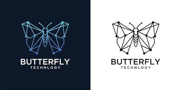 Borboleta com design de logotipo de rede de tecnologia