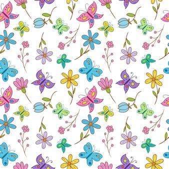 Borboleta com flor padrão sem emenda