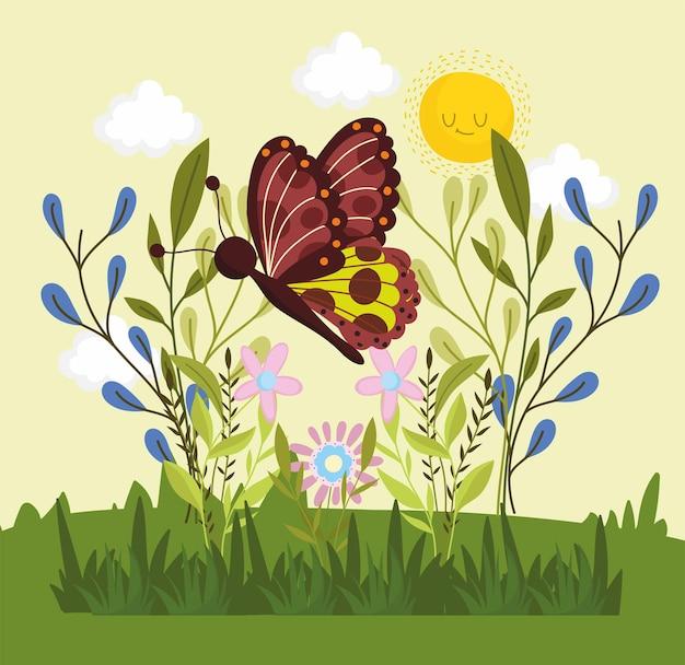 Borboleta com flores