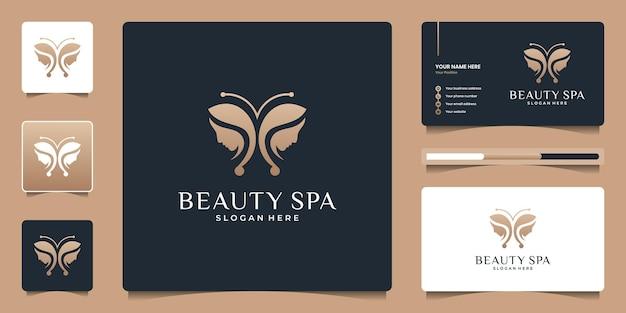 Borboleta de beleza com design de logotipo de rosto de mulheres e modelo de cartão de visita.