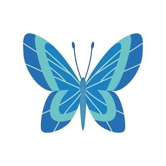 Borboleta de cor exótica. mão desenhada asas de mariposa ou inseto. animal tropical dos desenhos animados. ícone de vetor isolado