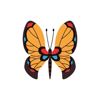 Borboleta de cor exótica. mão desenhada asas de mariposa ou inseto. animal tropical dos desenhos animados. vetor isolado