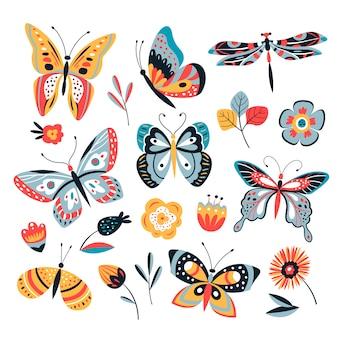 Borboleta de desenho de cor. mariposa de borboletas e flores. coleção de insetos vintage