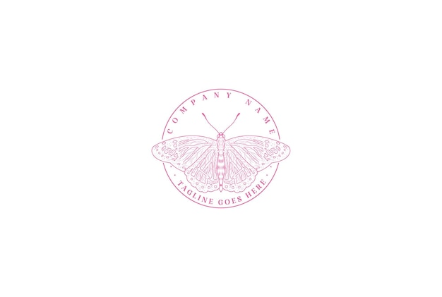Borboleta de inseto minimalista simples para vetor de design de logotipo de moda de beleza