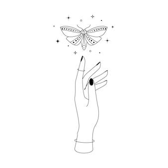 Borboleta de noite celestial mística com estrelas de constelação sobre a silhueta de contorno de mão de mulher. ilustração em vetor de traça de bruxa e símbolo mágico.