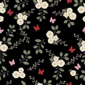Borboleta de padrão sem emenda, flor e folhas