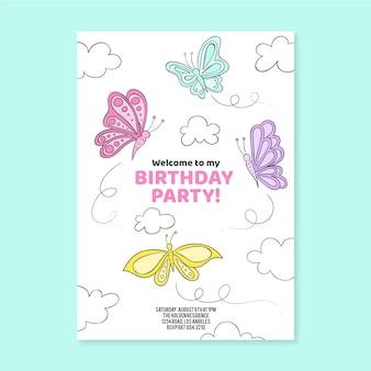 Borboleta desenhada a mão para convite de aniversário
