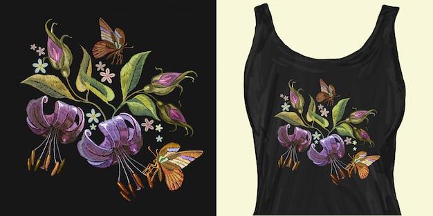 Borboleta e bordado lillies tigre
