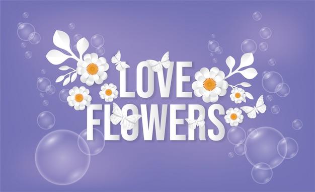 Borboleta e flores, bolhas de sabão.