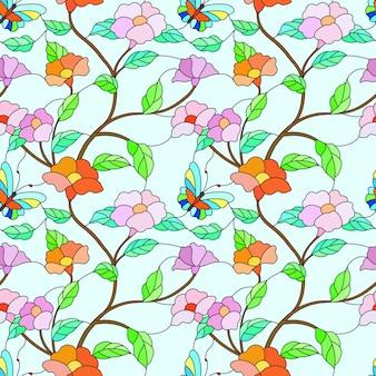 Borboleta e flores no padrão de estilo ramo vitral.