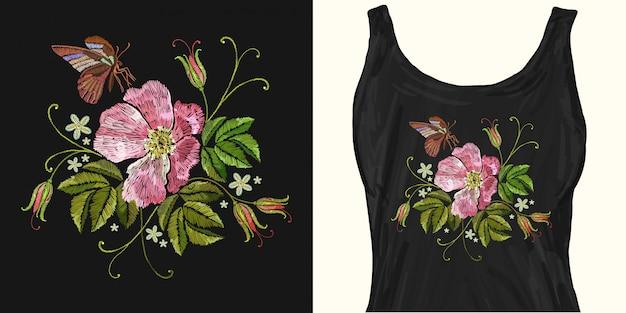Borboleta e rosas selvagens vintage bordado
