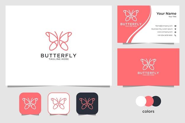 Borboleta elegante com design de logotipo em estilo arte de linha e cartão de visita