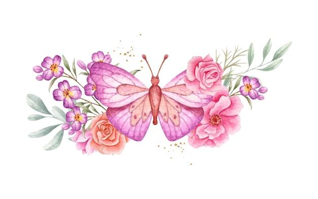 Borboleta em aquarela e elementos florais de primavera