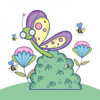 Borboleta exótica e abelhas com plantas de flores