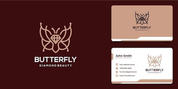 Borboleta feminina e diamante combinam design de logotipo