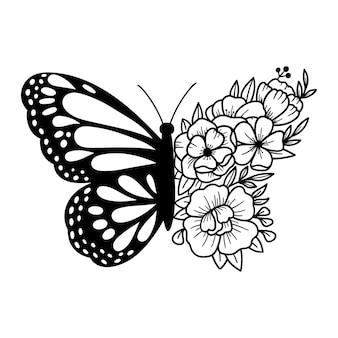 Borboleta floral, flores e desenho de contorno de borboleta