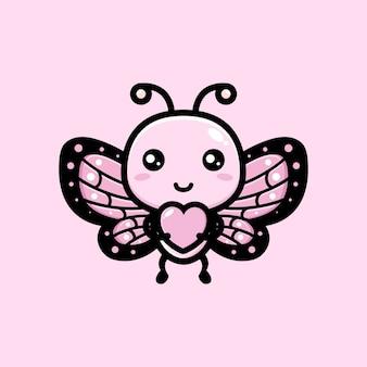 Borboleta fofa abraçando coração de amor
