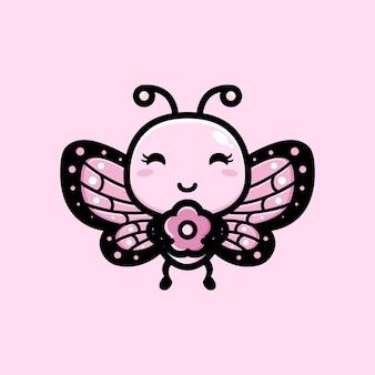 Borboleta fofa abraçando uma flor rosa