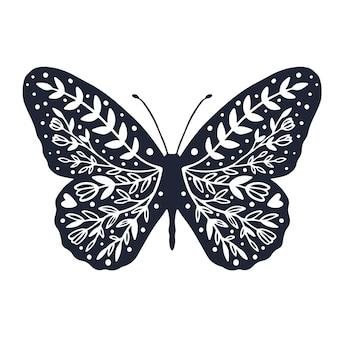 Borboleta fofa com design de capa de fundo de ornamento para colorir página de borboleta com flor
