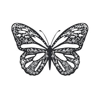 Borboleta fofa com ornamento design de capa de fundo para página de colorir