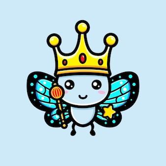 Borboleta fofa usando uma coroa de rei