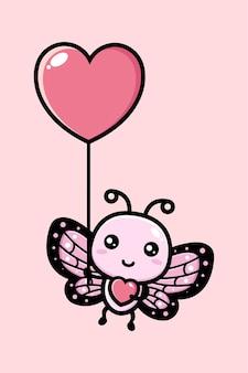 Borboleta fofa voando com um balão do amor