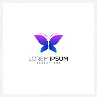 Borboleta logotipo azul e roxo
