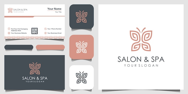 Borboleta minimalista com letra ss linha arte monograma forma logotipo. beleza, estilo spa de luxo. design de logotipo, ícone e cartão de visita.