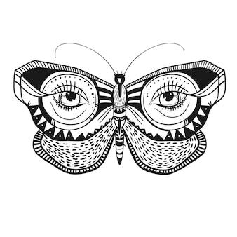 Borboleta misteriosa com ornamentos decorativos ilustração vetorial linda borboleta
