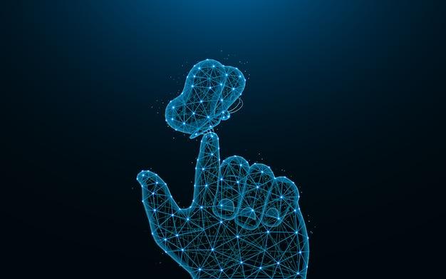 Borboleta no design de baixo poli de dedo do homem