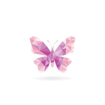Borboleta rosa e roxa de baixo poli vector