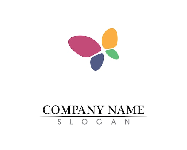 Borboleta simples conceitual, ícone colorido. logotipo.