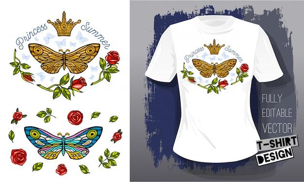 Borboleta traça de ouro bordado rainha coroa têxteis tecidos t-shirt design. mão ilustrações desenhadas