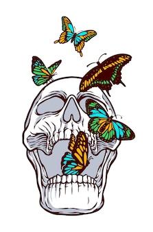 Borboletas coloridas e ilustração do crânio